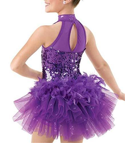IEFIEL Vestido Maillot de Ballet Danza Niñas Traje de Jazz Baile Latin de Lentejuelas Leotardo con Falda Tutu Pluma Mono sin Mangas Ropa de Actuación Fiesta Morado 8-10 Años