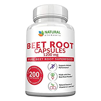 Beet Root Capsules - 1200mg Per Serving - 200 Beet Root Powder Capsules - Beetroot Powder Supports Blood Pressure Athletic Performance Digestive Immune System  Pure Non-GMO & Gluten Free