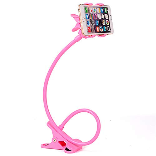 Soporte para teléfono móvil Flexible de Cuello de Cisne. Soporte Universal de Brazo articulado para iPhone Smartphone teléfono móvil con Clip para Mesa (Rosa)