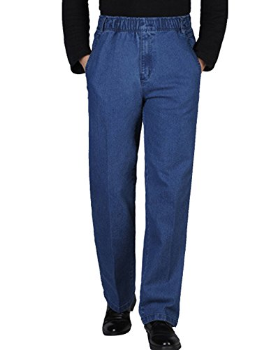 Zoulee Men's Full Elastic Waist Denim Pull On Jeans Straight Trousers Pants Light Blue 40