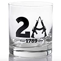 WHISKEY GLASS | 2A EST 1791 - ブラック | レストラン品質 11オンス ロックグラス | LUCKY SHOT 米国製