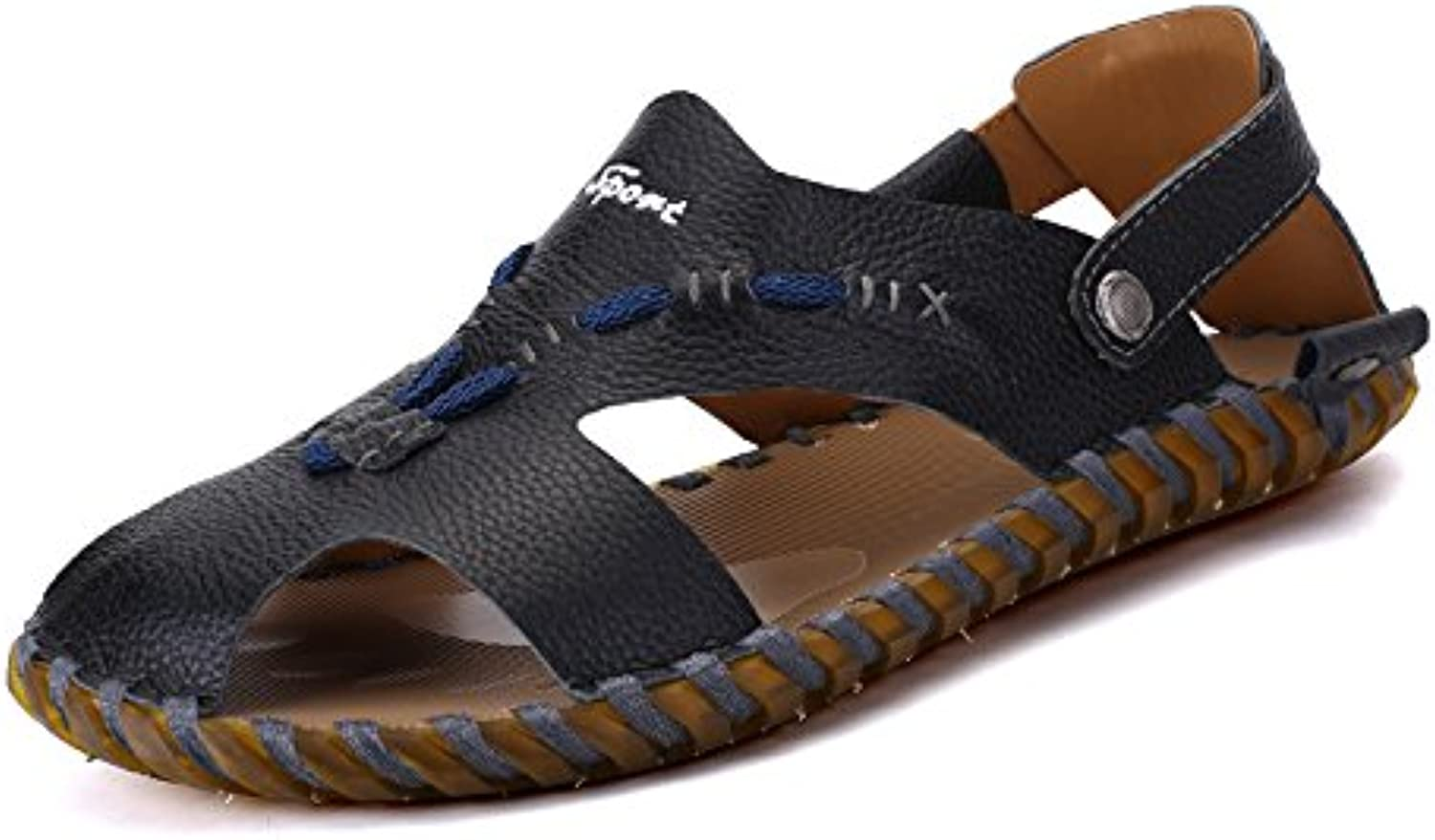 Men's sandals, summer students, leather beach shoes, slippers