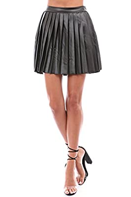 Made in USA Faux-Leather PU Pleated Skirt