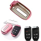Xotic Tech Soft TPU Remote Smart Key Fob Protective Cover Holder Case Compatible with Chrysler 200 300, Dodge Charger Challenger Dart Durango Journey, Jeep Grand Cherokee, Renegade, etc(Rose Gold)