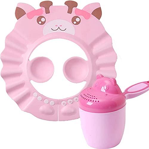 FSYIOU Gorro De Ducha para Bebés Gorro De Champú Ajustable Impermeable Visera De Ducha Segura Sombrero Suave para Niños Pequeños, Bebés, Niños,Pink