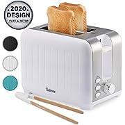 Toaster mit Breitem Schlitz 3 in 1 - Weiß Matt Edelstahl, Retro-Toaster - Gratis Bambus-Zange - 7 Bräunungsstufen - Brötchenaufsatz und Krümelschublade
