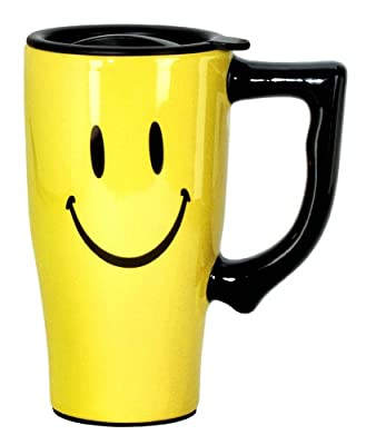 Smiley Faced Yellow Ceramic Travel Mug With Black Lid And Handle