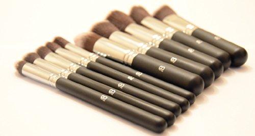 IB Lot de 10 pinceaux à maquillage Noir/argenté