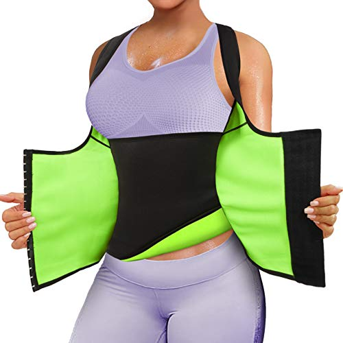 Rolewpy Women Neoprene Waist Trainer Corset Sweat Vest Sauna Body Shaper Cincher Workout Tank Top (Black Sauna Vest, Small (US 4-8))