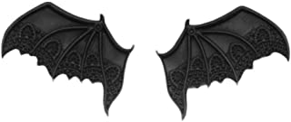 BLANCHO BEDDING Clips 1 Par Negro Diablo ala del Palo de Halloween Pinzas de Pelo del Pelo gótica pequeños Clips de Metal ...