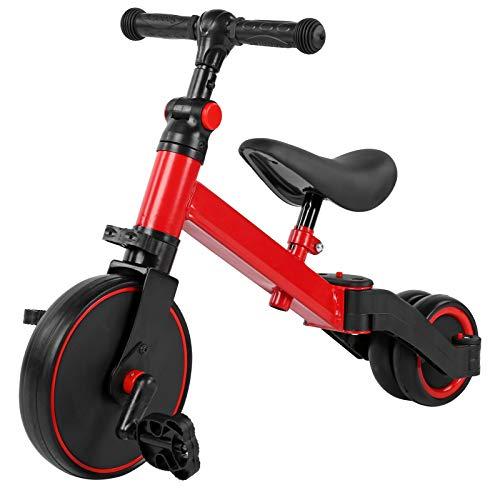 Pissente 2 en 1 Triciclo para Niños, Bicicleta de Equilibrio con Pedales y Ruedas para Niños 1-3 Años, Carga 25 kg(Rojo)