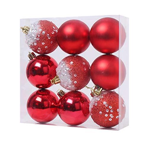 Cuasting 9 adornos de bolas de Navidad, decoración de árbol de Navidad, bolas colgantes para el hogar, Año Nuevo, decoración de fiesta, 2.3 pulgadas, color rojo