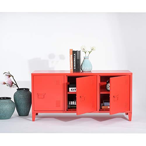 House in Box.COM - Armario de almacenamiento de metal industrial para salón o TV (120 cm, 3 puertas), color rojo