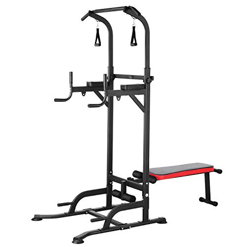 GARTIO Power Tower, Heavy-Duty Pull Up Bar, Multifunction, Adjustable Height Dip Station With Sit up Bench,4 Elastic Pull Ropes for Home Gym Strength Training Workout Exercise Fitness, 400lbs Max Load