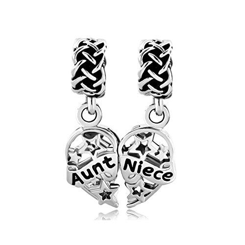 LovelyCharms Aunt Niece Stars Heart Charm Bead Fits European Snake Chain Bracelets