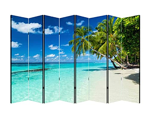 8 Panels Wall Divider Paradise Beach Folding Canvas Privacy Partition Screen Room Divider Sound Proof Separator Freestanding Protective Divider