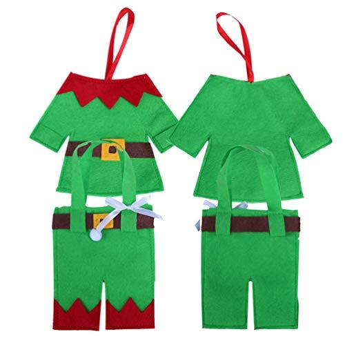 Amosfun 4 Pezzi di argenteria Natalizia Tasche Tasche Elfo Vestiti Pantaloni Natale Posate Calzini Calzini Verdi