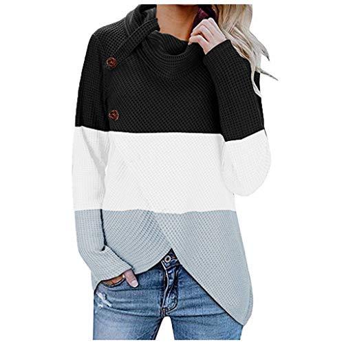 ALISIAM Camiseta Mujer Sudadera Otoño Invierno Jersey de Cuello Alto Botón Patchwork Outwear Ropa de Manga Larga Blusa Suelta de Moda Tops de poliéster