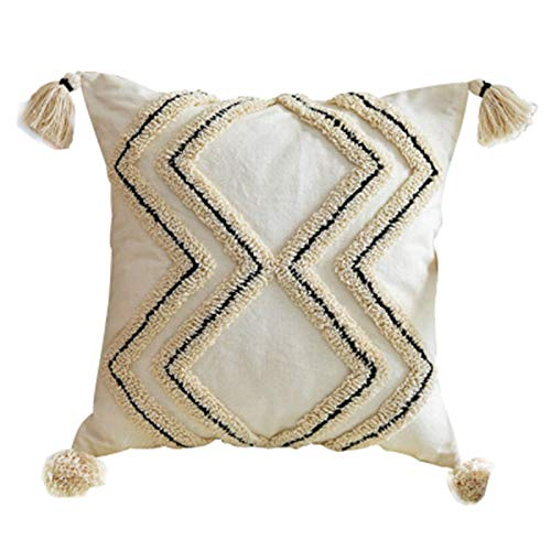 European Style Throw Pillow Cover Tufted Pillowcase with Tassels Super Soft Square Cushion Cover Case for Sofa Couch Bedroom Car Living Room 18X18 Inch 12X20 Inch,a,45 * 45cm