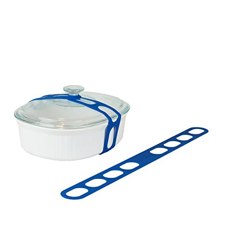 Lid Latch the reusable universal lid securing strap for crockpots, casserole dishes, pots, pans and more. Make it easy to transport your favorite dishes with one simple, flexible strap. (Blue)