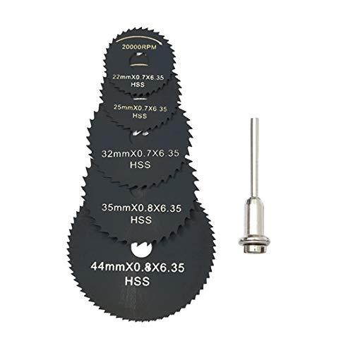 F-MINGNIAN-TOOL, 6 Stks Mini HSS Circulaire Zaag Blade Roterende Tool Voor Dremel Metalen Snijder Power Tool Hout Snijschijven Boor Mandrel Cutoff 22-44mm