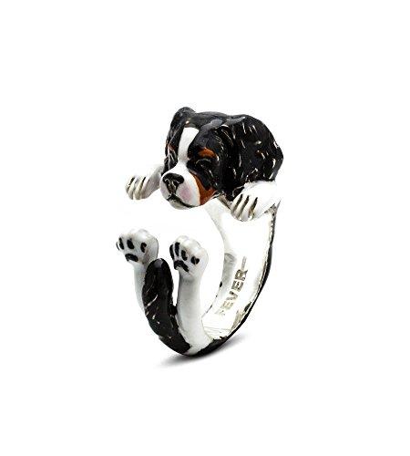 Dog Fever Anello Custom Hug Argento Smaltato Cavalier King cane dog silver ring