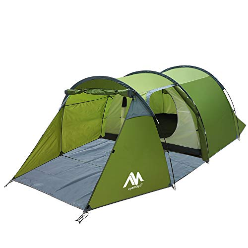 ayamaya Camping Tunnel Tents with Vestibule for 2-4 Person, Double Layer 2 Rooms [Living Room + Removable Bedroom] Easy Setup Survival Tent for Expedition Motorcycle Bicycle Trekking Backpacking
