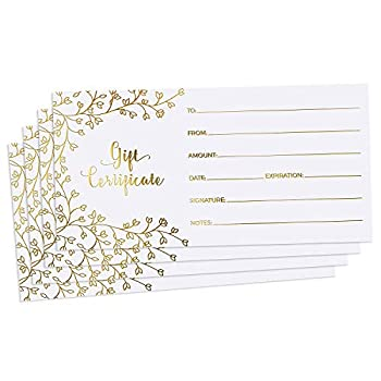Blank Gift Certificates for Business - 25 Gold Foil Gift Certificate Cards with Envelopes for Spa Salon Restaurants Custom Client Vouchers for Birthday Work Gift Card - 3.75x7.5