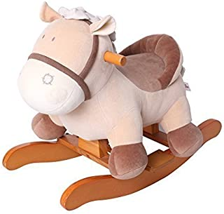 labebe - Baby Rocking Horse Plush, Kid Ride on Toys for 1-3 Year Old, Toddler&Child Wooden Rocking Animal, Stuffed Animal Rocker for Girl&Boy, Outdoor/Indoor Ride on Animal for Nursery - Brown Donkey