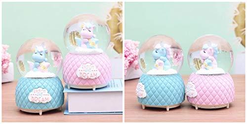 Musical Unicorn Snow Globe for Kids, 100mm Resin Glitter Music Box with Multiple Tunes, Gift for Girls - Blue 4