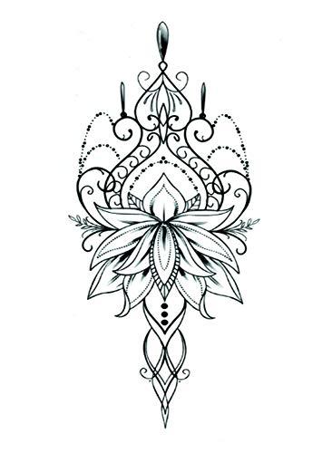 EROSPA® Tattoo-Bogen temporär/Sticker - Lotus Blume Flower - Wasserfest