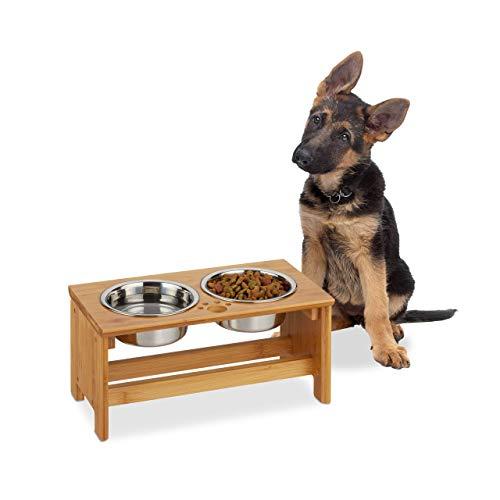 Relaxdays Futterbar für Hunde, 2 Näpfe je 700 ml, erhöht, Bambus & Edelstahl, HxBxT: 18,5 x 40 x 20,5 cm, natur/silber, 1 Stück