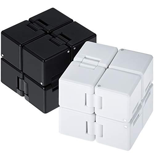 2 Cubos de Infinito Juguete Fidget Bloque, Mini Juguete de Escritorio Cubo Infinito Juguete de Aliviar Estrés, Cubo TDAH para Niños Adultos, Juguete Sensorial para Autistas (Negro, Blanco)