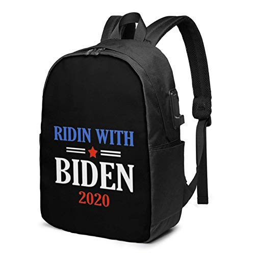 Lsjuee Ridin with Biden 2020 Vote Joe Biden Travel Laptop Backpack with USB Charging Port for Women Men School College Students Backpack Fits 17 Inch Laptop