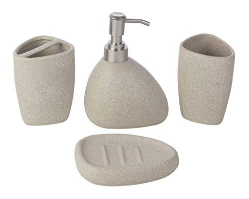 kieragrace Muskoka Baird – Juego de Accesorios para baño (4 Piezas, Piedra Mate, baño de cerámica),…