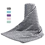 Acdyion Removable Duvet Cover 48x72 for Weighted Blankets-Super Soft Minky Dot with 8 Ties Cover Only (SilveryGrey)