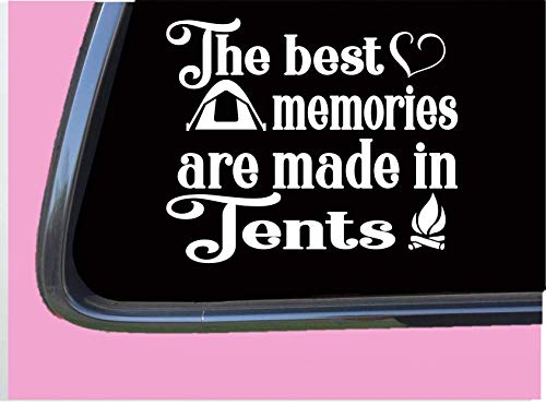 "The Best Memories in Tents TP024 Vinyl 6"" Decal Sticker Camper Boots Trail Sleeping Bag Vinyl Decal for Cars, Trucks, Laptops"