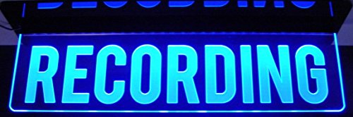 """Recording Desk, Ceiling, or Flat to Wall Mount Home Studio Room In Session Acrylic Lighted Edge Lit Sign 12-21"""" 15-30 Leds 9 Foot Cord Mirr Light Up Plaque Full Size 1363 Made in the USA"""