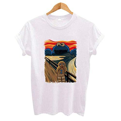 Miwaimao signora Divertente Cartoon Stampato T-Shirt Femminile Manica Corta Girocollo Confortevole Elastico Traspirante Poliestere Estate Tinta unita Sciolto Grandi Cantieri Moda bianco XXXL