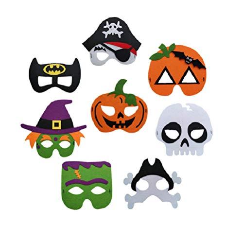 8 Teilige Kindermaske Zu Den Halloween-Partymasken Gehören Hexenmaske, Kürbismaske, Piratenmaske, Fledermausmaske Und Schädelmaske (Halloween)