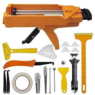NADAMOO Dual Component Caulking Gun 400 mL (1:1 Mix Ratio), Dual Cartridge Caulking Gun,Manual Epoxy Adhesive Applicator With Caulking Tool Kit,11 Pieces Caulk Tools,Orange from NADAMOO.,ltd