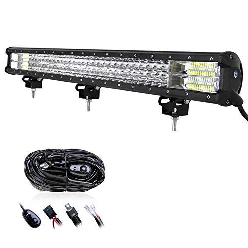 RIGIDON Barra de luz led, 12V 24V 28 pulgadas 396W, 7D Tri...