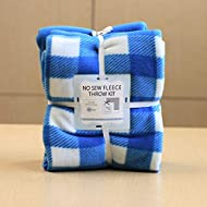 Buffalo Plaid Blue Anti-Pill No-Sew Throw Fleece Fabric Kit (72x60)