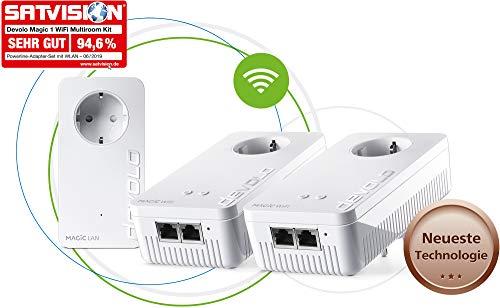 devolo Magic 1 – 1200 WiFi ac Multiroom Kit: Set mit 3 Powerline-Adaptern, WLAN-Funktion, ideal für Home Office (1200 Mbit/s, 4x Fast-Ethernet LAN-Anschlüsse, Mesh, G.hn)