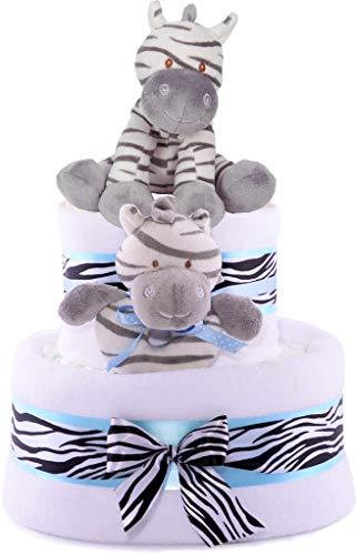 Regalo para fiesta del bebé en forma de tarta de 3 niveles, color azul, con cebras