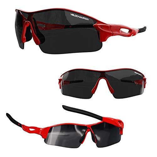 Velochampion Warp Ciclismo Conducción Mtb Gafas de Sol Híbridas Correr Gafas Deportivas Protección Uv400 y 2 Lentes de Repuesto Incluidos (Rojo)
