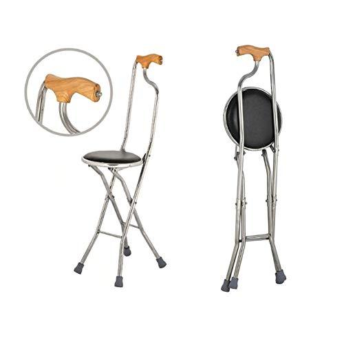 Wandstok, Roestvrij staal gepolsterde riet, vouwstok, ouderen vierbenige anti-slip stoel Zwart