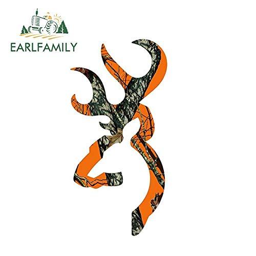 PJYGNK Sticker de Carro 13cm x 7cm Browning Style Buck Realtree Orange Camo Camuflaje Caza Etiqueta engomada del Coche Etiqueta de Vinilo Naranja