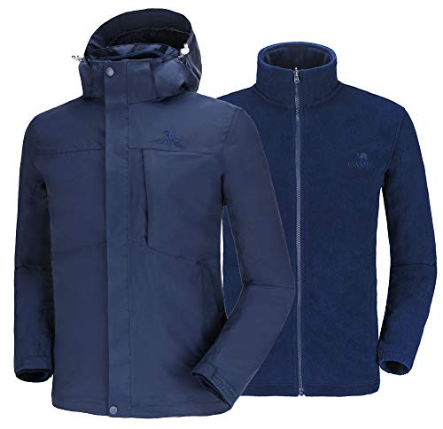 Camel Outdoorjack voor heren, waterdicht, ski-jack, winddichte regenjas met fleece, warme 3-in-1 ski-jack en hardshelljacks, winterjack voor heren, functioneel jack, all-weather jack, vrijetijdsjack