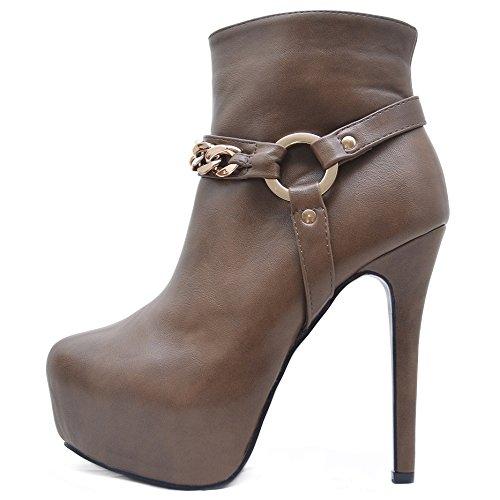 Roselight Stiefeletten Ankle Boots in Schwarz oder Braun (37, Khaki)